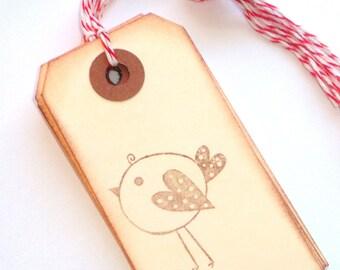 Love Bird Handstamped Tags
