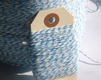 CIJ SALE  Bright Blue and White Bakers Twine 25 yards
