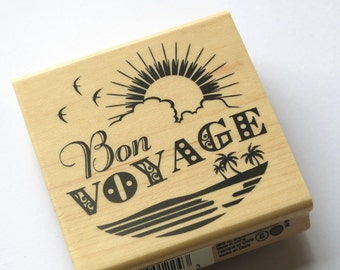 Huge Christmas in July Sale / Bon Voyage Rubber Stamp from Inkadinkado // Brand New