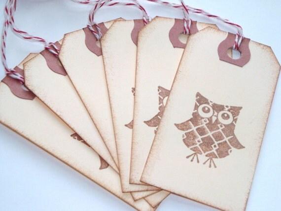 Patchwork Owl Handstamped Tags