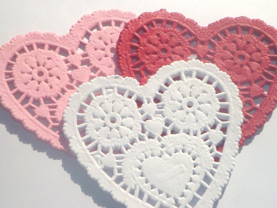 French Lace Heart Shaped 6 Inch Paper Doilies // 6pcs