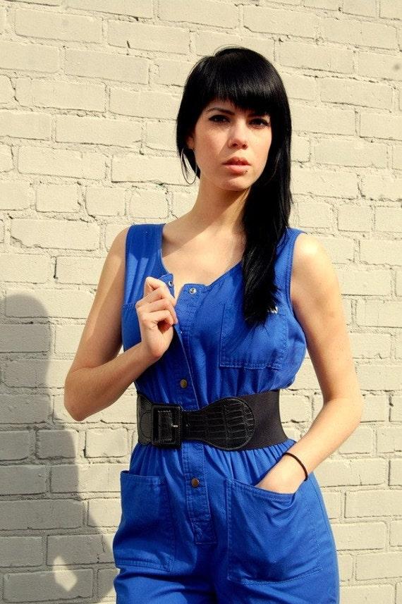 Blue utilitarian jumpsuit
