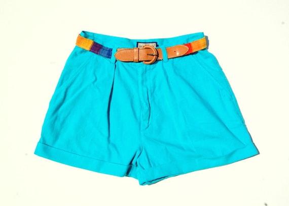 Aqua belted high waist pleated shorts 1990s VTG