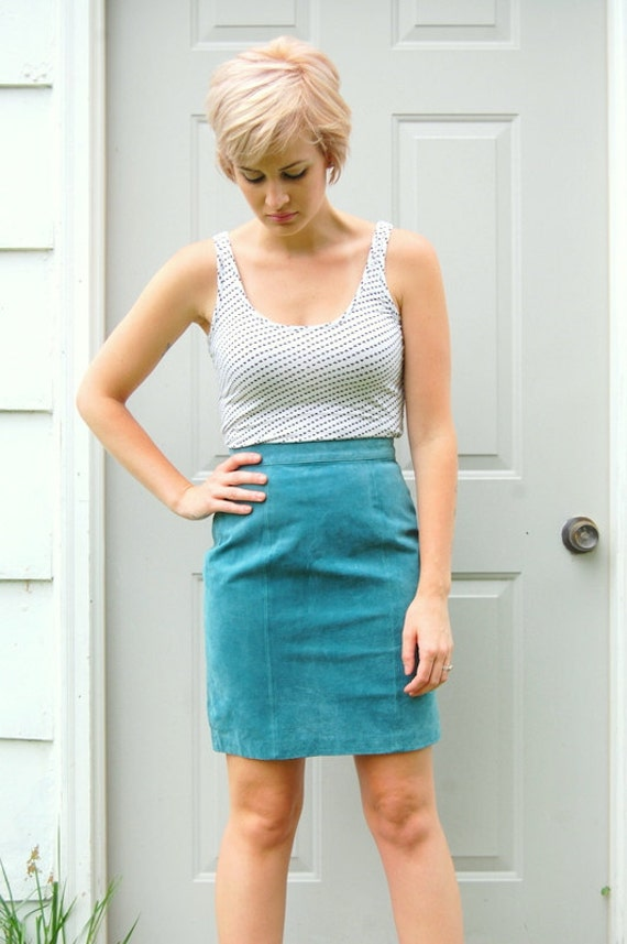 Sea green suede pencil skirt 1990s