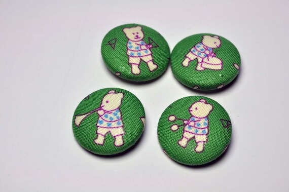 Fabric Covered Buttons - bear band size 45