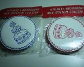 vintage PROPER LADIES paper/wax coasters PACKAGE in red or blue