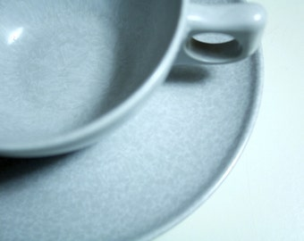4 marble gray MELAMINE teacups and saucers