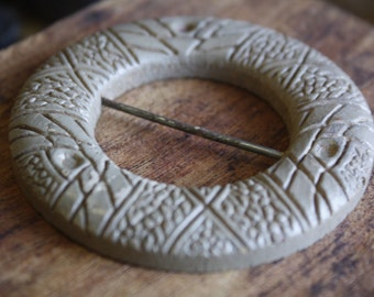 vintage carved wood & chippy paint buckle