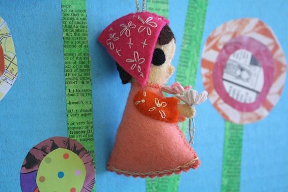 vintage INCREDIBLE handmade felt girl