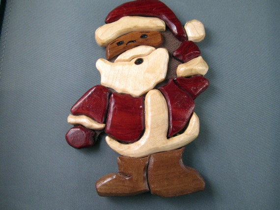 Santa Claus handmade Christmas tree ornament Vintage holiday decoration handcrafted carved good boys and girls Saint Nick