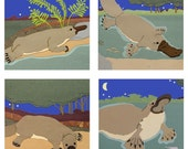 Platypus cards Set of Four Giclee prints