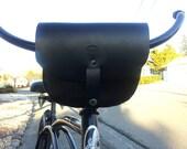Bicycle Handlebar Bag Black Leather with Snaps