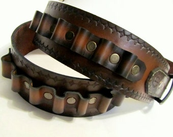 Mens Leather Bullet Belt Ammo Belt Brown Sunburst