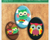 Owls 18x25mm and 18x13mm ovals Digital Collage sheet for photo pendants bottlecaps scrapbooking and more