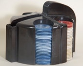 Poker Chip Caddy and Vintage Chips - Bakelite Art Nouveau