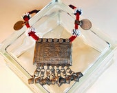 Middle Eastern Tribal Metal and Beaded Necklace