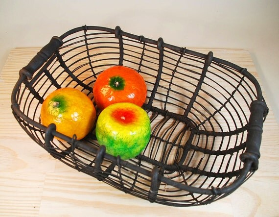 Wire Basket With Two Wooden Handles