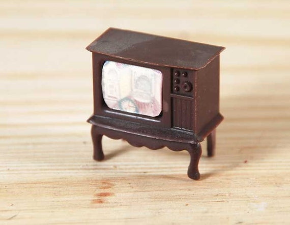 Miniature Dollhouse Television - Plastic From 1950s/ 60s