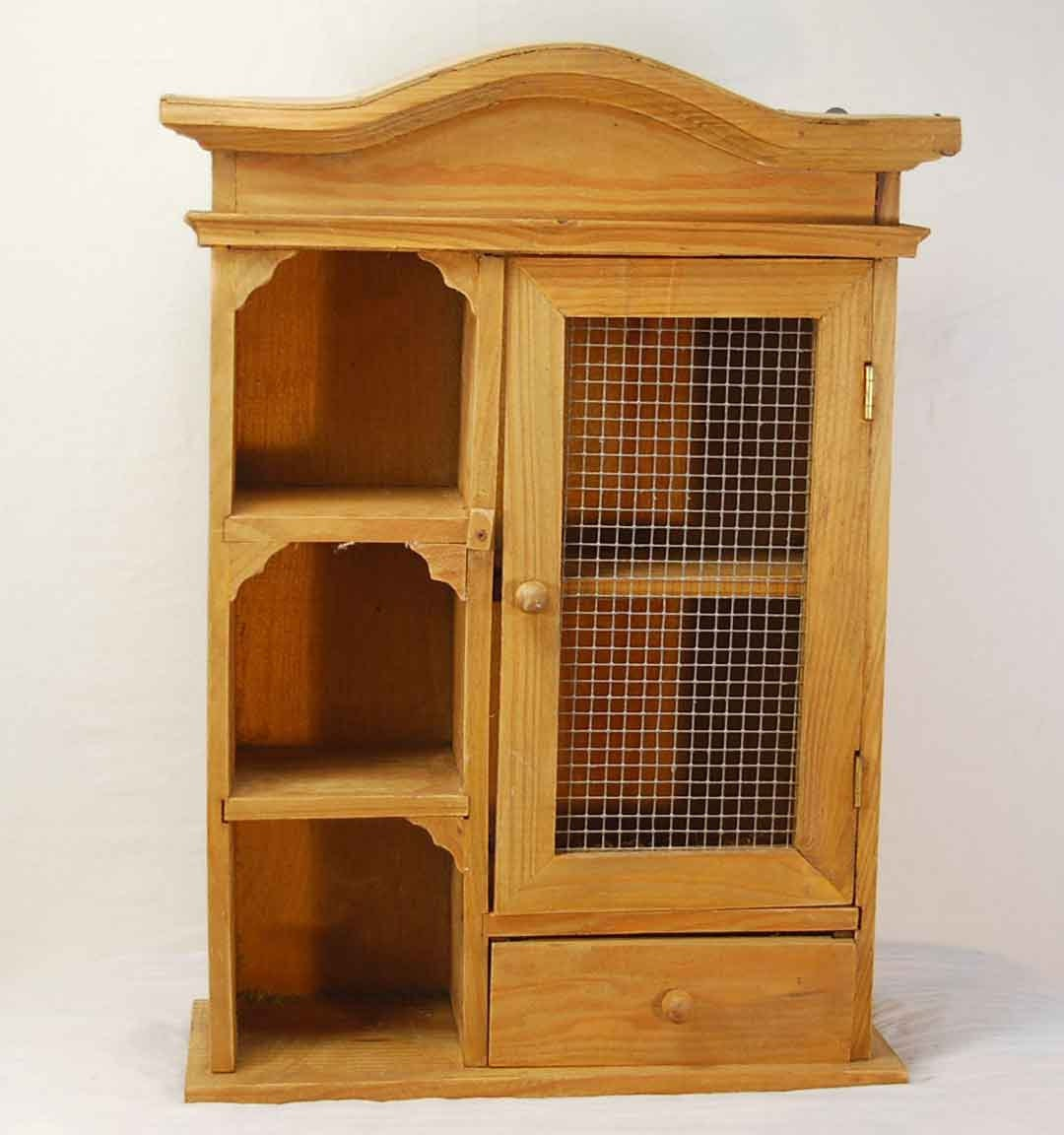 Small wood and wire curio cabinet