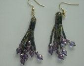 Dangle Crystal and Seed Bead Earrings