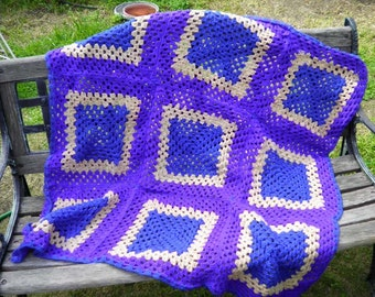 Granny Square Afghan in Purple and Blue