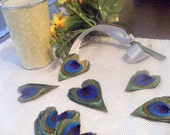 Peacock Feather Hearts Favors Decor 50