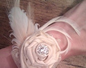 Wedding Wrist Corsage - Romantic Rose and Feather Vintage Wrist Corsage