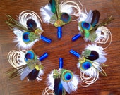 Peacock Feather Boutonniere - Set of 6 - Grooms Groomsmen Natural Wedding Lapel Pin