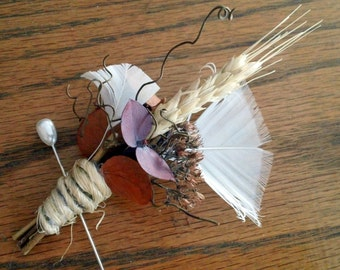 All Natural Autumn Wheat Boutonniere