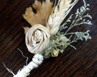 SET OF 8 Corn Husk Rose All Natural Boutonnieres