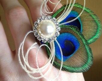 Peacock Feather Ring Corsage- Unique, Petite, Elegant