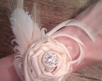 2 Wedding Wrist Corsages - Romantic Rose and Feather Vintage Wrist Corsages