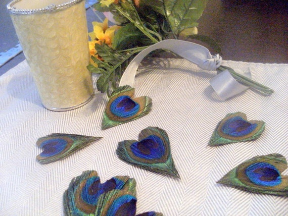 Items similar to 100 peacock feather hearts favors decor on etsy - Peacock feather decorations home decor ...