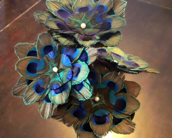 SET of 4 Small Peacock feather flowers
