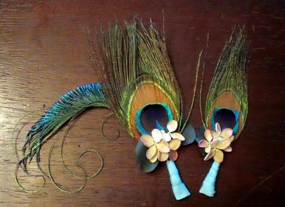 SET OF 8: Peacock Hydrangea Bloom Boutonniere