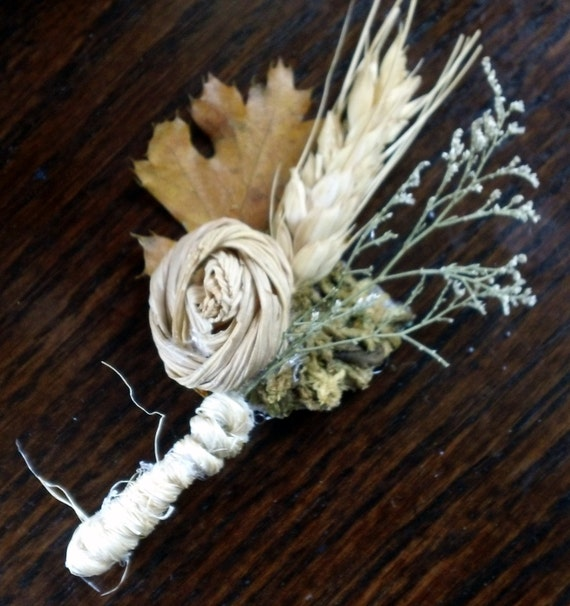 SET OF 5 Corn Husk Rose All Natural Boutonnieres