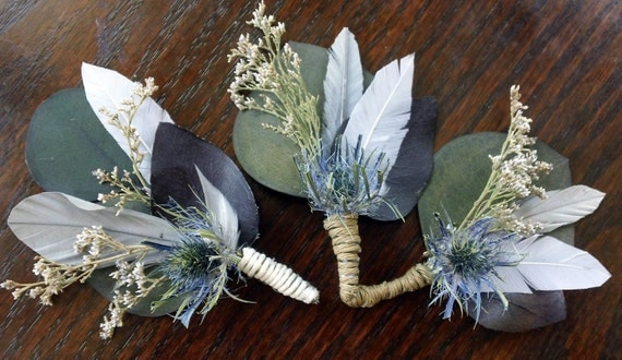 Groom's and 2 Groomsmen All Natural Misty River Boutonnieres or Corsages
