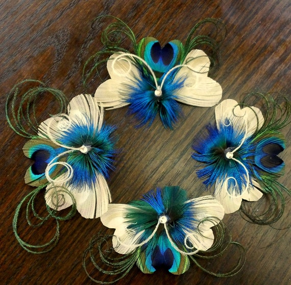 Set of 7 Regal Peacock Feather Hair Clips