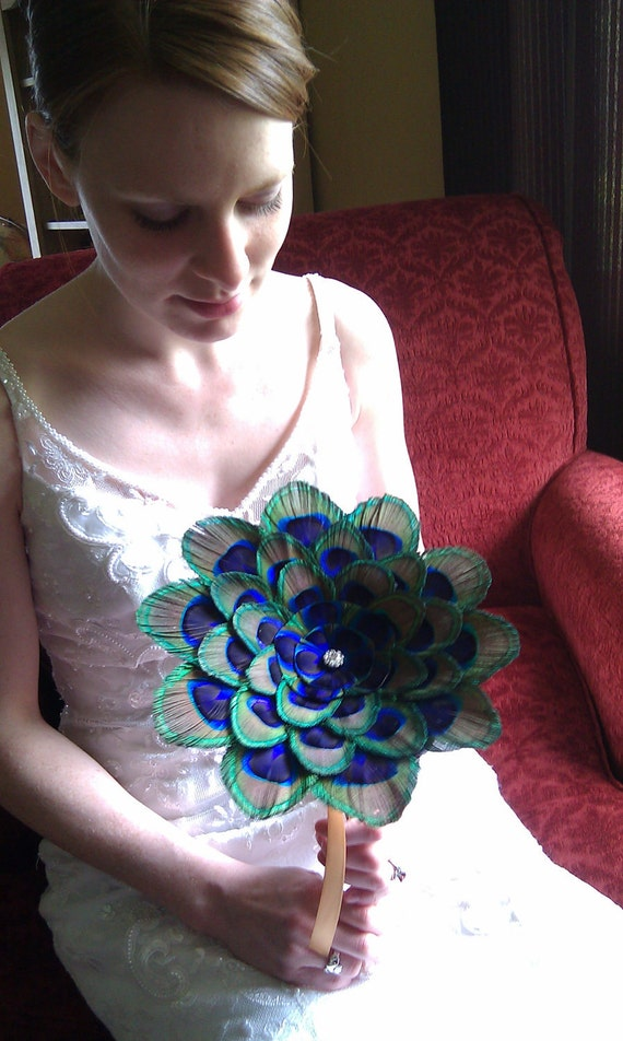 Peacock Feather Flower Alternative Wedding Bouquet