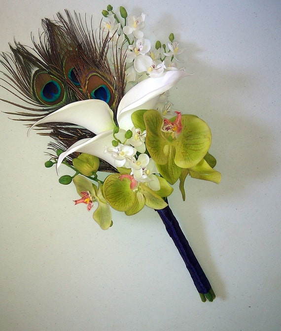 Peacock  Calla Lily Orchid Wedding Bouquet - peacock feather, phalaenopsis, dendrobium orchid, calla lily