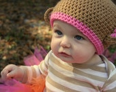 Crochet Baby Monkey Hat -Free Shipping -Available in sizes NB to Large child
