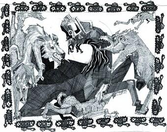 Animals,  Wolfs, Horse, Modern Arab Art, 16x20 inch Picture