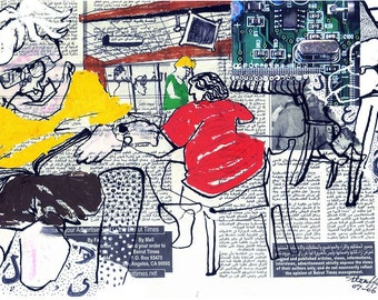 Coffee Shop, Contemporary Illustration, Urban Art, Urban Drawing, 11x17 inch Picture,