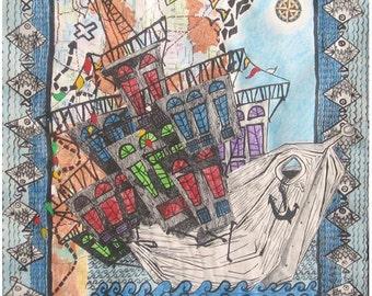 Baghdad Ship, Middle East Art,  Iraqi Arts, Ship, 16x20 inch Art