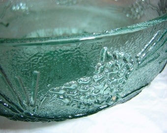 Vintage Tiara Glass Ponderosa Pine Fruit Bowl Cabin Decor Lodge Decor