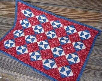 Handmade Mini Quilt, Broken Dishes Pattern in Patriotic Colors, Broken Dishes Pattern. Mini Quilt, Handmade Quilt
