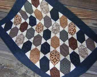 Masculine Hand Quilted Wall Hanging or Table Mat in Geometric Design with Blacks, Browns and Whites, Handmade Quilt Wallhanging