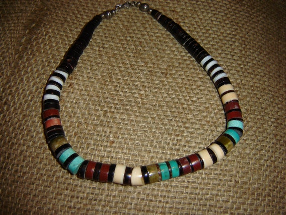 Unique Vintage Heishi Bead Native American Necklace-Unisex