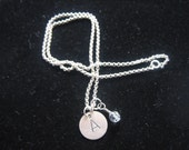 Hand Stamped One Initial Sterling Silver Necklace with a Birthstone