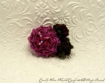 Hand Knit Rosette Brooch Pin No.1